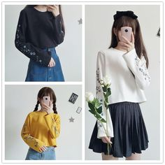 2eed266fd5 Final Stock! Yellow/Black/White Flowers Embroidery Pullover Shirt SP1710907