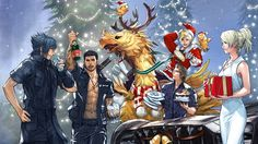 FFXV Christmas Party Holiday Wallpaper