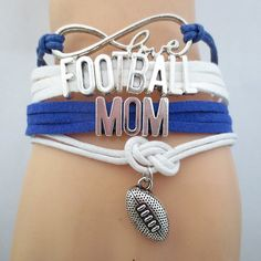 Infinity Love Football Mom Bracelet - FREE SHIPPING - Hand Made Leather Strap…