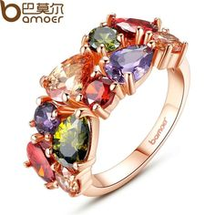 BAMOER Unique Design Rose Gold Color Mona Lisa Ring for Female Wedding with AAA Colorful Cubic Zircon Bijouterie NameLuxury Gold Plated Zircon Finger Ring Mate. Promise Ring For Girls, Rings For Girls, In China, Couleur Or Rose, Mona Lisa, Swarovski Crystal Rings, Color Ring, Rose Gold Color, Jewelry Branding