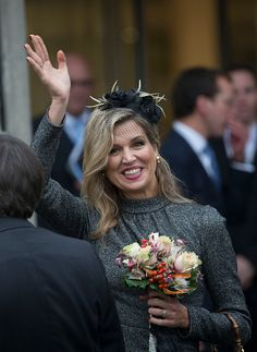 Queen Maxima of The Netherlands visits the former mining region on October 8, 2015 in Geleen, Netherlands.