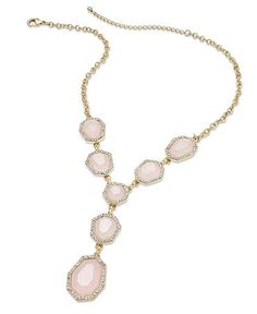 Charter Club Necklace, Gold-Tone Milky Pink Stone Y Necklace