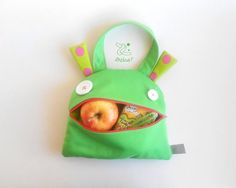 Kids Hand bag monster tote  Zé Snack-glutton lunch bag  by Zezling