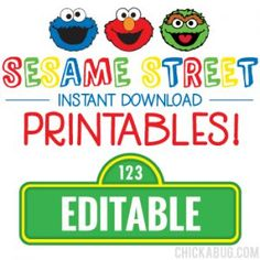 Sesame Street Birthday Printables - Including Editable intended for Sesame Street Label Templates - Best & Professional Templates Ideas Party Box, Elmo Party, Elmo Birthday Party Printables, Birthday Ideas, Mickey Party, Monster Party, Dinosaur Party, Dinosaur Birthday, Cookie Monster
