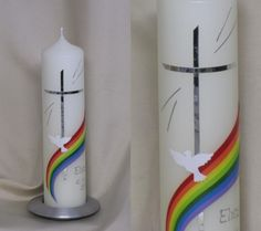 TAUFKERZE - mit Regenbogen, inkl.Beschrift.! von Silkes-Kerzenladen auf DaWanda.com