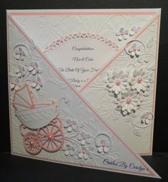 Baby Card - All essential products for this project can be found on… Baby Girl Cards, New Baby Cards, Scrapbook Bebe, Scrapbook Cards, Fancy Fold Cards, Folded Cards, Pretty Cards, Cute Cards, Shaped Cards