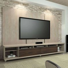Dropbox - rack com painel Tv Cabinet Design, Tv Unit Design, Lcd Wall Design, Tv Wall Panel, Tv Wanddekor, Tv Rack, Family Room Walls, Muebles Living, Tv Wall Decor
