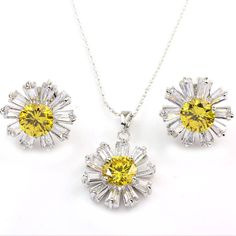 FC White Gold GP Yellow Crystal CZ Daisy Pendant Necklace Earrings Jewelry Sets ** To view further, visit now : Jewelry Sets