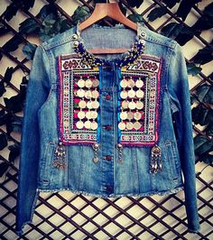 Unique and exclusive denim jacket. Customed with authentic vintage tribal textiles, embroidered by nomadic tribe. Apply ancient ethnic coins, and unique vintage tribal jewelry. Each piece of the jacket is unique. Ethnic Fashion, Denim Fashion, Boho Fashion, Fashion Outfits, 90s Fashion, Winter Fashion, Fashion Tips, Fashion Trends, Gilet Jeans