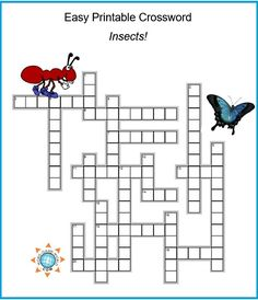 fun easy printable crossword all about insects