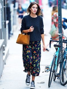 Alexa Chung style: don't overlook the power of a simple navy jumper.