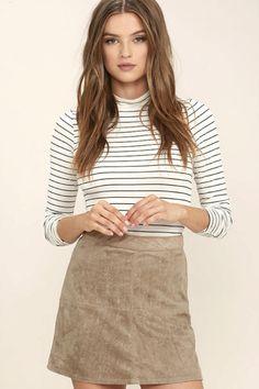 Rhythm Runaway Taupe Suede Mini Skirt   @giftryapp