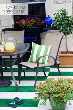 DIY Astroturf Striped Patio Rug - I'm loving this cause I'm tired of pulling weeds out between the pavers