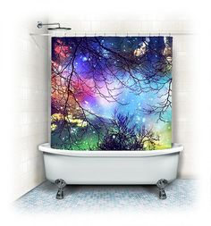 """Fabric Shower Curtain """"Look to the stars"""" clouds, stars,sky, night, trees,aqua,turquoise,blue, teal, bathroom, home decor,nature"""