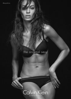 Joan Smalls posing for the new Calvin Klein Underwear ad, photographed by Mikael Jansson.