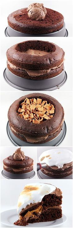 how creative! By Baker Peabody via Tablespoon. This is such a fun take on a yummy dessert! Just Desserts, Delicious Desserts, Yummy Food, Yummy Treats, Sweet Treats, Cake Recipes, Dessert Recipes, Smores Cake, Eat Dessert First
