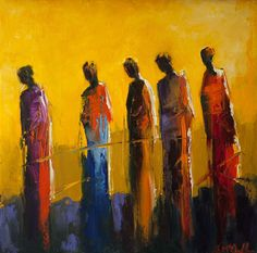 abstract figurative oil painting, vivid color, yellow, red, contemporary art,