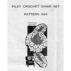 Filet Crocheted Floral Wreath Pattern No 894 | Todays Treasure Pattern Shop