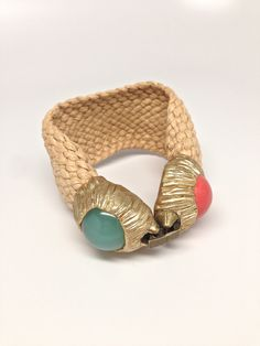 Straw Bracelet with Chalcedony stones and Clasp closure