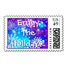 Colorful Snowflakes Fireworks Stamp