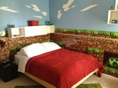 Minecraft Bedroom this is cool, but I'm just doing one wall
