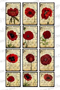 Digital Collage Sheet Printable Vintage Poppies by PicsandPaper