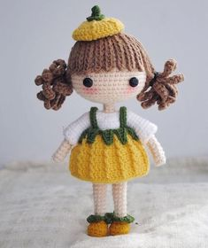 She's supposed to be a pumpkin like girl, but actually to be a bell pepper like one😹😹😹 Amigurumi Doll, Amigurumi Patterns, Doll Patterns, Knitted Dolls, Crochet Dolls, Crochet Baby, Crochet Crafts, Yarn Crafts, Crochet Projects