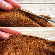 How To Perfect A Neckline When Picking Up Stitches - ! so perfektionieren sie einen ausschnitt beim aufnehmen von stichen - ! comment perfectionner un décolleté en ramassant des points - Knitting Help, Knitting Stitches, Knitting Designs, Knitting Patterns Free, Knit Patterns, Knitting Projects, Knitting Buttonholes, Sweater Patterns, Knitting Tutorials