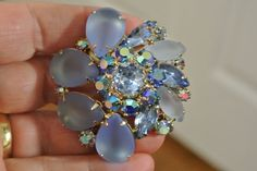Vintage Blue Rhinestone Brooch Pin Blue Satin Glass Frosted Aurora Borealis Pin #Brooches