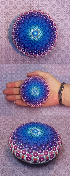 "Mandala Stone (Large) by Kimberly Vallee: Hand painted with acrylic and protected with a matt finish, this ""large"" stone is a touch larger than my usual stones, at about 3"" diameter. It is one-of-a-kind."
