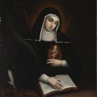 Painting of St. Gertrude of Nivelles by Miguel Cabrera at the Dallas Museum of Art. Catholic Prayers, Catholic Art, Catholic Saints, Patron Saints, Roman Catholic, Religious Art, Catholic Beliefs, Religious Pictures, Seven Sacraments