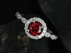 Sunny 14kt White Gold Crimson Ruby & Diamond Flower Halo WITH Milgrain Engagement Ring (Other metals and stone options available)