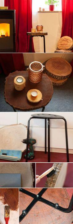 Beistelltisch mit einer Holzscheibe und einem Ikea Hocker. Stump Table from a Ikea stool.   Ikea Hack, Wood, Holz, DIY, Tree stump