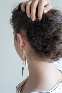 Long Gold Ear Cuff Hammered Spikes Goldfilled Chains от knobbly, $75.00