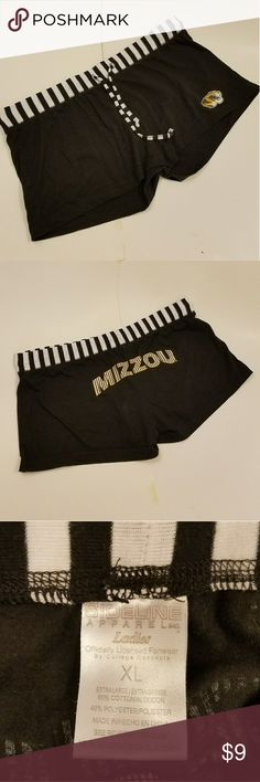 "Black Shorts Mizzou Black Lounge Short Shorts Drawstring ""Mizzou"" written in yellow/gold XL Mizzou Shorts"