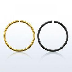 Aro cerrado de 0,8mm de grosor. Varios diámetros. Dorado o negro. Ideal para tu piercing de naril. Nostril. ¿Comprar piercings online? En Li, 3.77