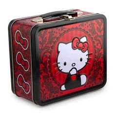 LOUNGEFLY-HELLO-KITTY-Red-With-Black-Lace-LUNCHBOX-New-METAL-BOX