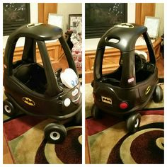 Refurbish a cozy coupe into a Batmobile.  Original color was pink and purple.  Order batman stickers online and now our grandsons have their own little batmobile.