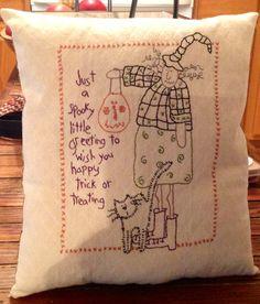 Halloween Decor Pillow......ofgfaap by hootnanniesbyjeanne on Etsy, $14.00