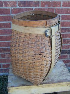 Wonderful early pack basket.. Can you imagine  hiking with this on your back through the mountains?