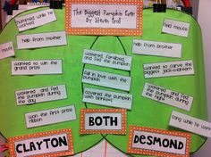 We read the biggest pumpkin ever and compared the two main characters Clayton and Desmond. School Fun, School Stuff, School Ideas, Speech And Language, Language Arts, Language Development, Halloween Writing Prompts, 3 Year Old Preschool, Biggest Pumpkin