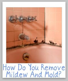 Here are tips and tricks for cleaning and removing mildew and mold from hard surfaces, including bathrooms and more. Household Cleaning Tips, Cleaning Recipes, House Cleaning Tips, Spring Cleaning, Cleaning Hacks, Cleaning Supplies, Cleaners Homemade, Bathroom Cleaning, Natural Cleaning Products