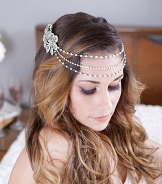 Silver Pearl and Rhinestone Headband, Crystal Headband, crystal tiara, Bridal Halo, bridal Headpiece, crystal headpiece - Theresa Design