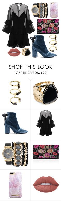 """""""Lucky Shoes"""" by jelisaj ❤ liked on Polyvore featuring Noir Jewelry, Aurélie Bidermann, self-portrait, Alex Perry, Jessica Carlyle, From St Xavier, iDeal of Sweden, Lime Crime, rings and blackdress"""