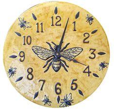 BEE~Honeybee Wall Clock in Light Yellow Glaze: Beth Sherman: Ceramic Clock | Artful Home