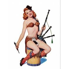 Pin Up Redhead With Scottish Outfit Canvas Art - (18 x 24)