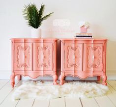 I love these pink girly night stands! So elegant with all those curvy details. These bedside tables were painted in Benjamin Mlore Cool Lava. Already sold to a sweet lady who has a lot of pink decor Pink Decor, Painting Furniture Diy, Decor, Coral Painted Furniture, Furniture, Bedroom Paint, Pink Painted Furniture, Painted Furniture, Pink Bedside Tables
