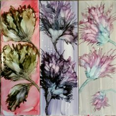 Flowers in alcohol ink on 12x4 ceramic tile. Blended and blown ink.  By Tina.