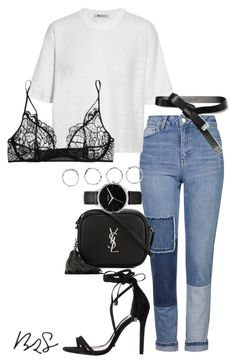 """""""#704"""" by blendingtwostyles ❤ liked on Polyvore featuring Topshop, T By Alexander Wang, Schutz, Yves Saint Laurent, Nixon, Boohoo, Marni and Kiki de Montparnasse"""