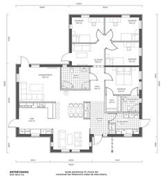 NB! Planløsning? Floor Plan 4 Bedroom, 4 Bedroom House Plans, Dream House Plans, Small House Plans, House Floor Plans, My Dream Home, Sims Building, Building A House, Concept Models Architecture